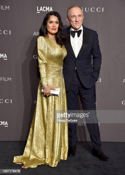 Salma Hayek and FrancoisHenri Pinault arrive at the 2018 LACMA Art Film Gala at LACMA on November 3 2018 in Los Angeles California