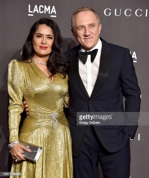 Salma Hayek and FrancoisHenri Pinault arrive at the 2018 LACMA Art Film Gala at LACMA on November 3 2018 in Los Angeles California