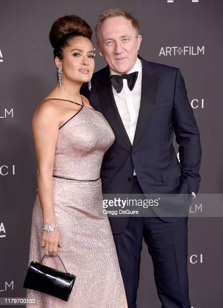 Salma Hayek and Francois-Henri Pinault arrive at the 2019 LACMA Art + Film Gala Presented By Gucci on November 2, 2019 in Los Angeles, California.