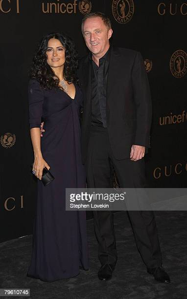 Salma Hayek and FrancoisHenri Pinault attend a reception to benefit UNICEF hosted by Gucci during MercedesBenz Fashion Week Fall 2008 at The United...