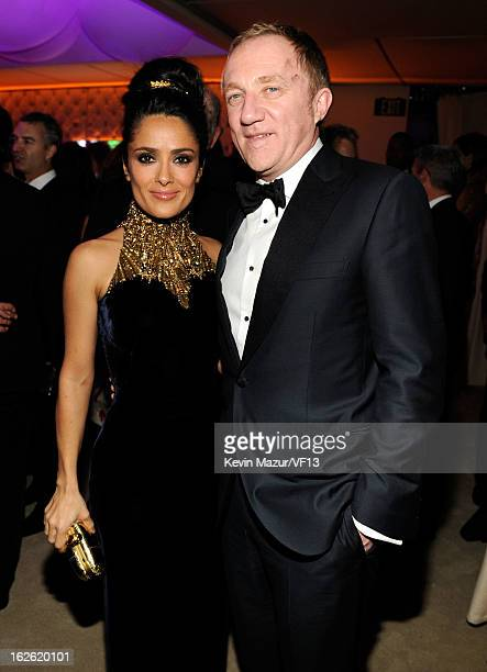 Salma Hayek and FrancoisHenri Pinault attend the 2013 Vanity Fair Oscar Party hosted by Graydon Carter at Sunset Tower on February 24 2013 in West...