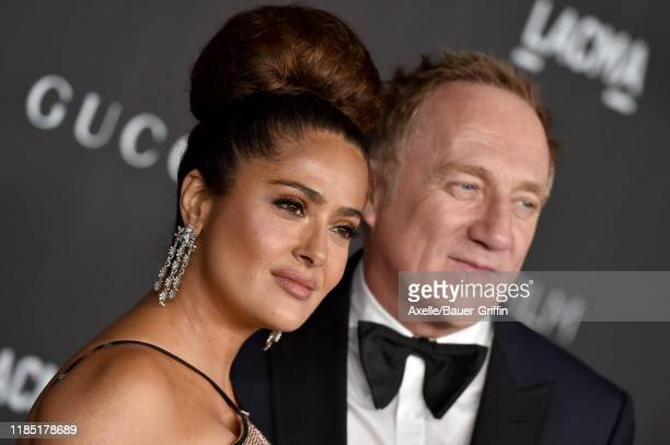 Salma Hayek and Francois-Henri Pinault attend the 2019 LACMA Art + Film Gala Presented By Gucci on November 02, 2019 in Los Angeles, California.