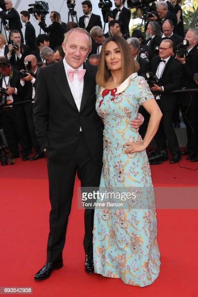 Salma Hayek and FrancoisHenri Pinault attend the 70th anniversary event during the 70th annual Cannes Film Festival at Palais des Festivals on May 23...