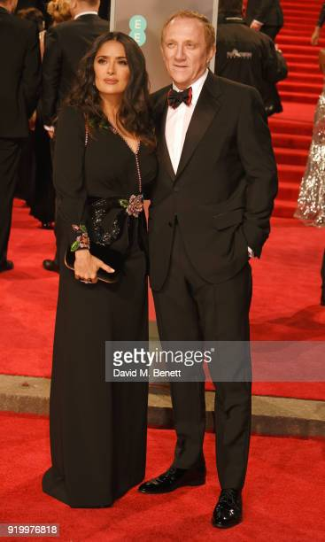 Salma Hayek and FrancoisHenri Pinault attend the EE British Academy Film Awards held at Royal Albert Hall on February 18 2018 in London England