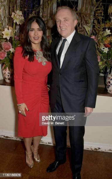 Salma Hayek and FrancoisHenri Pinault attend the FrancoisHenri Pinault and Sarah Burton dinner In celebration of the Alexander McQueen Old Bond...