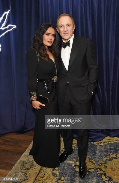 Salma Hayek and FrancoisHenri Pinault attend the Grey Goose 2018 BAFTA Awards after party at Soho House on February 18 2018 in London England