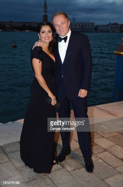 Salma Hayek and FrancoisHenri Pinault attend the Gucci Award for Women in Cinema at The 69th Venice International Film Festival at Hotel Cipriani on...