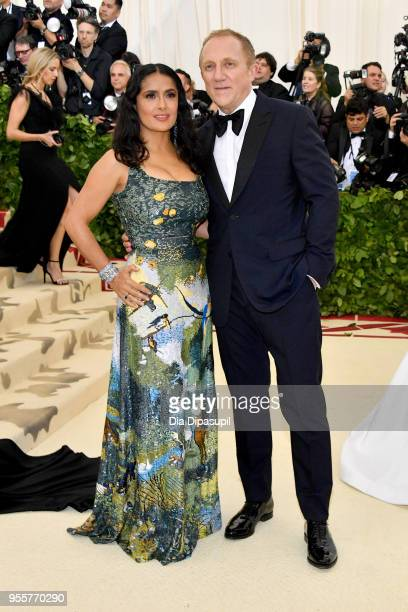 Salma Hayek and FrancoisHenri Pinault attend the Heavenly Bodies Fashion The Catholic Imagination Costume Institute Gala at The Metropolitan Museum...