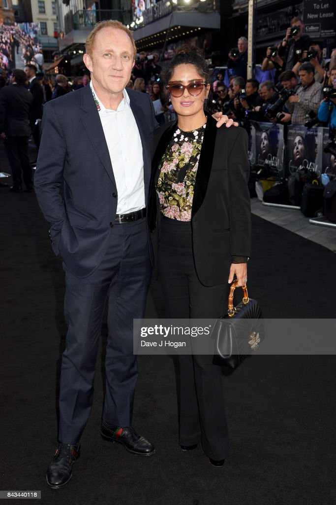 Salma Hayek (R) and Francois-Henri Pinault attend the 'Mother!' UK premiere at Odeon Leicester Square on September 6, 2017 in London, England.