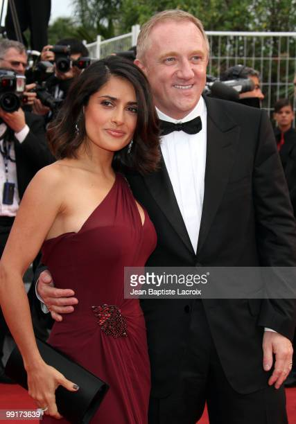 Salma Hayek and FrancoisHenri Pinault attend the Opening Night Premiere of 'Robin Hood' at the Palais des Festivals during the 63rd Annual...
