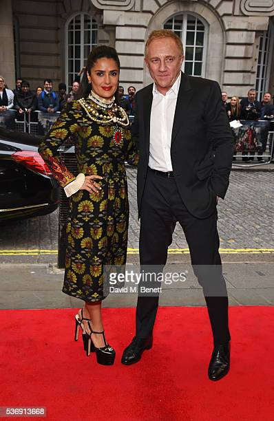 """Salma Hayek and Francois-Henri Pinault attend the UK Premiere of """"Tale Of Tales"""" at The Curzon Mayfair on June 1, 2016 in London, England."""