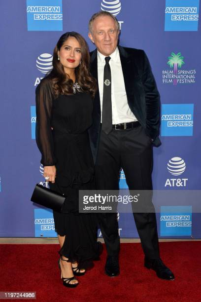 Salma Hayek and François-Henri Pinault arrive at the 2020 Annual Palm Springs International Film Festival Film Awards Gala on January 02, 2020 in...