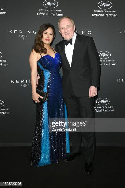 Salma Hayek and François-Henri Pinault attend Kering Women In Motion Awards Photocall on July 11, 2021 in Cannes, France.