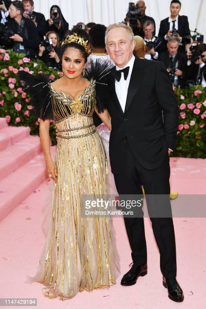 Salma Hayek and FrançoisHenri Pinault attend The 2019 Met Gala Celebrating Camp Notes on Fashion at Metropolitan Museum of Art on May 06 2019 in New...
