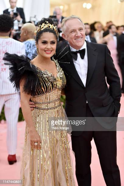 Salma Hayek and François-Henri Pinault attend The 2019 Met Gala Celebrating Camp: Notes on Fashion at Metropolitan Museum of Art on May 06, 2019 in...