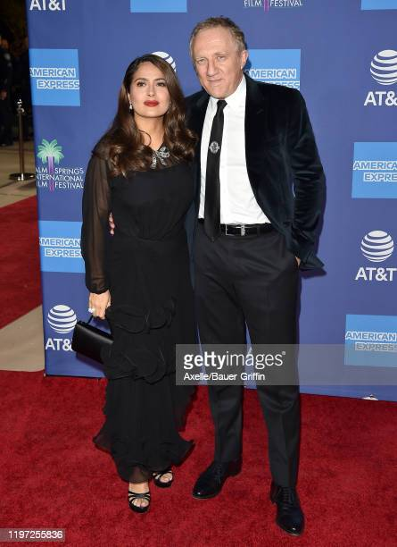 Salma Hayek and François-Henri Pinault attend the 2020 Annual Palm Springs International Film Festival Film Awards Gala on January 02, 2020 in Palm...