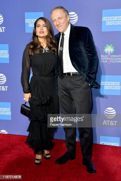 Salma Hayek and FrançoisHenri Pinault attend the 31st Annual Palm Springs International Film Festival Film Awards Gala at Palm Springs Convention...