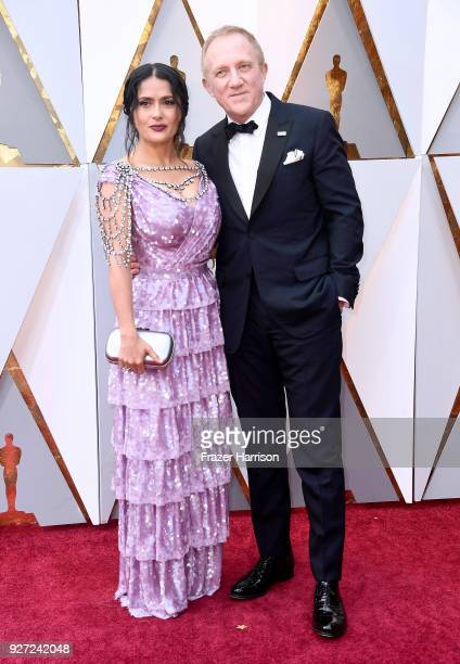 Salma Hayek and FrançoisHenri Pinault attend the 90th Annual Academy Awards at Hollywood Highland Center on March 4 2018 in Hollywood California