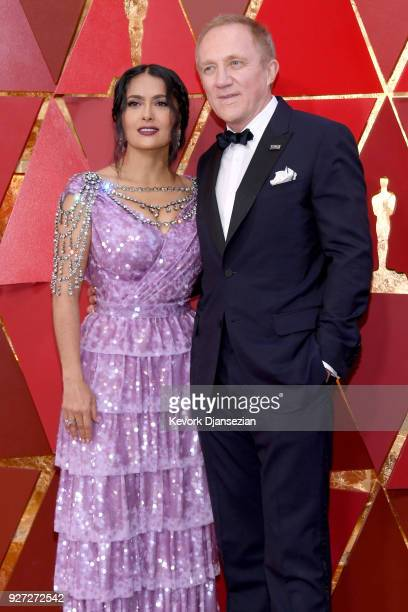 Salma Hayek and FrançoisHenri Pinault attends the 90th Annual Academy Awards at Hollywood Highland Center on March 4 2018 in Hollywood California