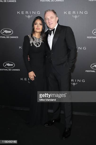 Salma Hayek and FrançoisHenri Pinault attends the Kering Women In Motion Awards during the 72nd annual Cannes Film Festival on May 19 2019 in Cannes...