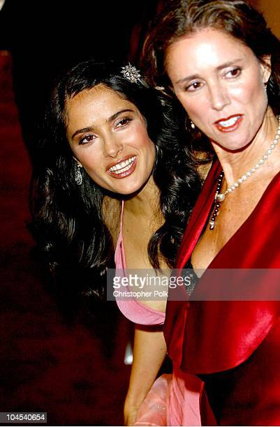 Salma Hayek and Frida director Julie Taymor during Frida Premiere Arrivals at Los Angeles County Museum of Art in Los Angeles CA United States