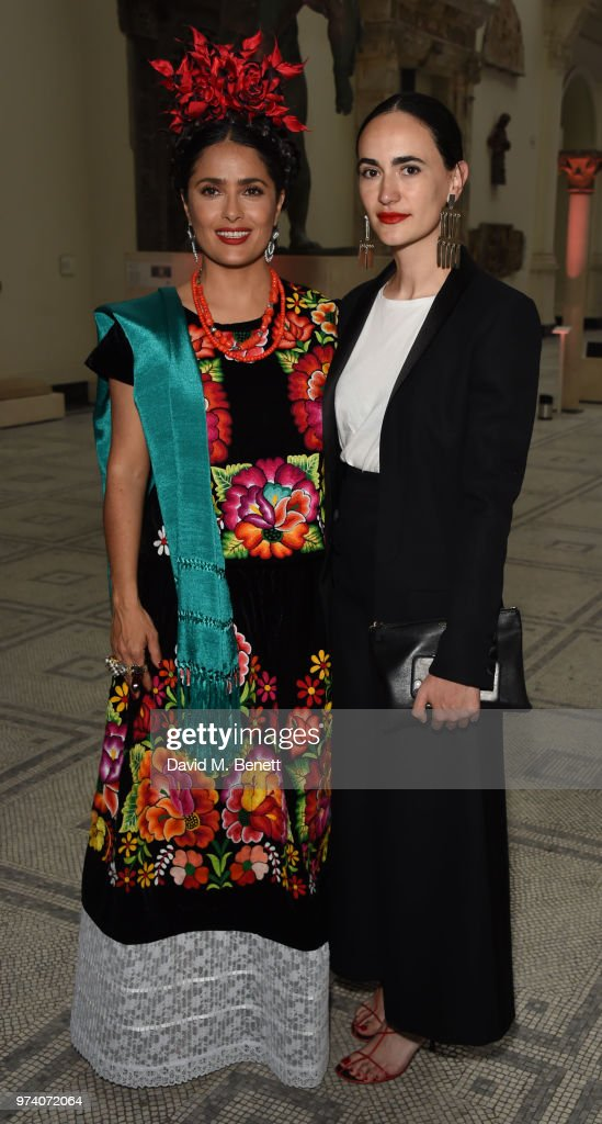 Salma Hayek and Frida Escobedo attend a private view of 'Frida Kahlo: Making Her Self Up' at The V&A on June 13, 2018 in London, England.