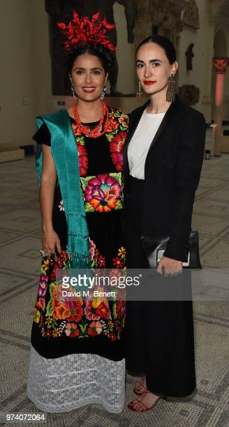 Salma Hayek and Frida Escobedo attend a private view of 'Frida Kahlo Making Her Self Up' at The VA on June 13 2018 in London England