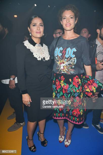 Salma Hayek and Ginevra Elkann attend the Gucci show during Milan Fashion Week Spring/Summer 2018 on September 20 2017 in Milan Italy