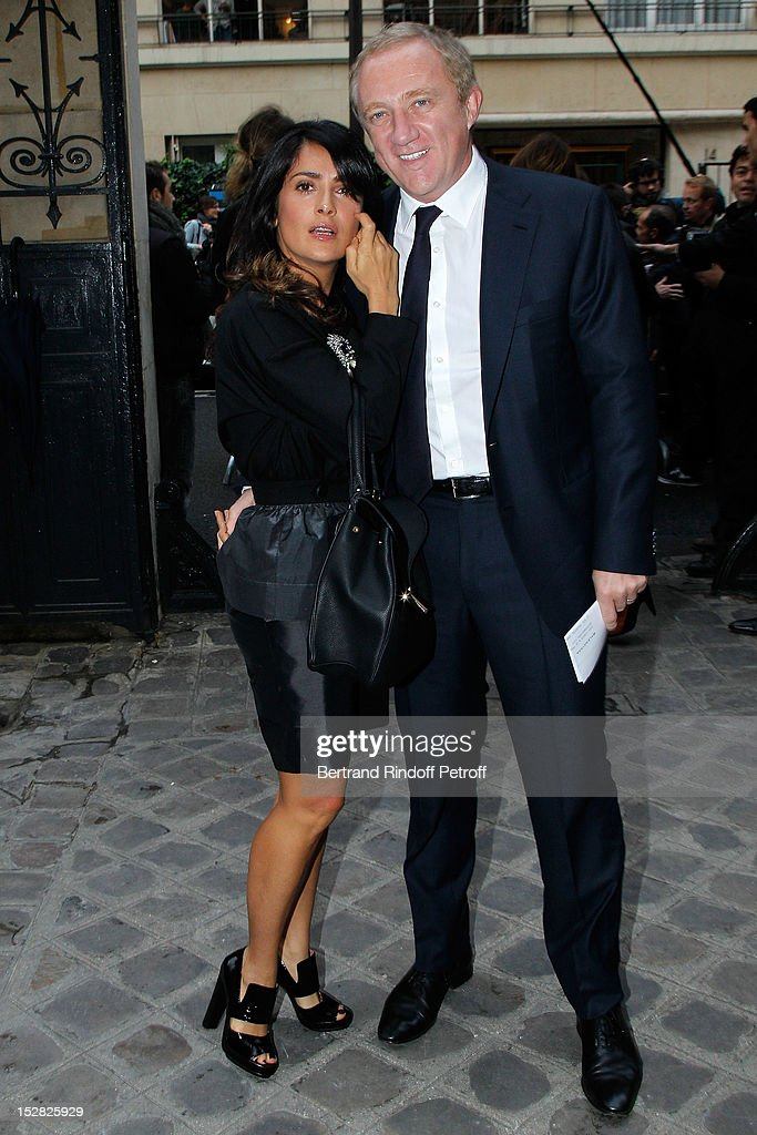 Salma Hayek and husband Francois-Henri Pinault, PPR CEO, attend the Balenciaga Spring / Summer 2013 show as part of Paris Fashion Week on September 27, 2012 in Paris, France.