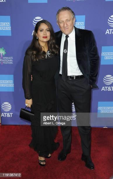 Salma Hayek and husband François-Henri Pinault arrive for the 2020 Annual Palm Springs International Film Festival Film Awards Gala held at Palm...