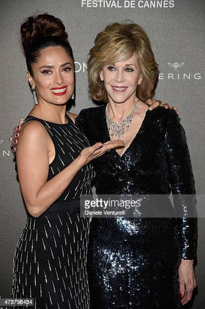 Salma Hayek and Jane Fonda attend the Kering Official Cannes Dinner at Place de la Castre on May 17, 2015 in Cannes, France.