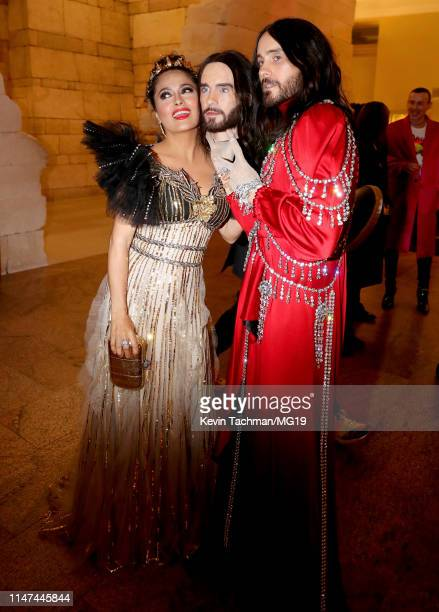 Salma Hayek and Jared Leto attend The 2019 Met Gala Celebrating Camp Notes on Fashion at Metropolitan Museum of Art on May 06 2019 in New York City