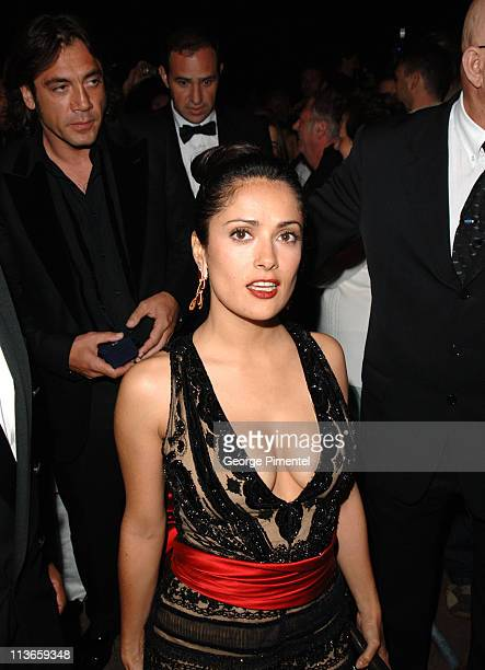 Salma Hayek and Javier Bardem during 2005 Cannes Film Festival Closing Ceremony Departures at Le Palais de Festivals in Cannes France