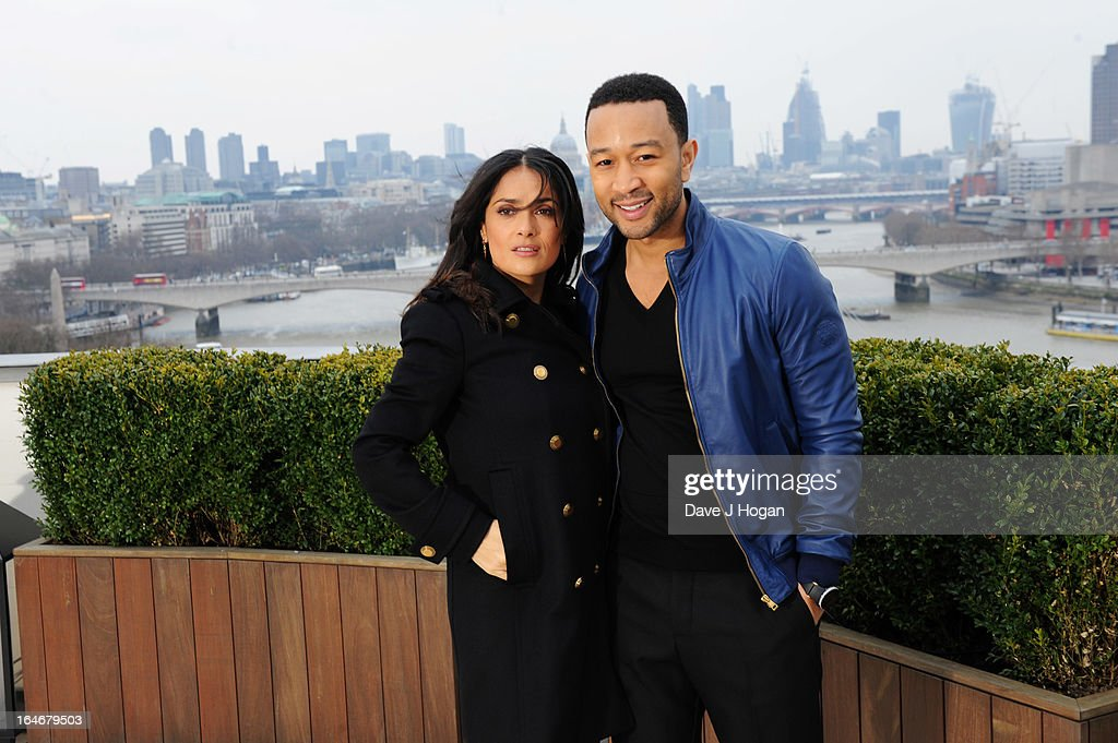 Salma Hayek and John Legend attend a photo call to launch 'The Sound Of Change Live' at the Corinthia Hotel on March 26, 2013 in London, United Kingdom. Chime For Change, a global campaign for girls' and women's empowerment founded by Gucci and with a founding committee comprised of Gucci Creative Director Frida Giannini, Salma Hayek Pinault and Beyonce Knowles-Carter, today announced a concert event at London's Twickenham Stadium on June 1 with Co-founder and Artistic Director, Beyonce as headliner. Also set to perform are Ellie Goulding, Florence and the Machine, HAIM, Iggy Azalea, John Legend, Laura Pausini, Rita Ora, Timbaland and more to be announced.