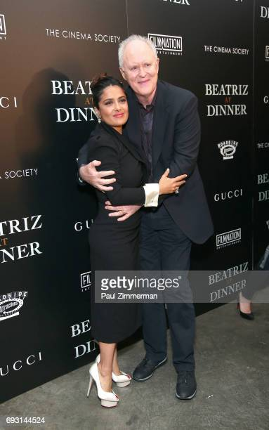 """Salma Hayek and John Lithgow attend the Gucci & The Cinema Society Host A Screening Of Roadside Attractions' """"Beatriz At Dinner"""" at the Metrograph on..."""