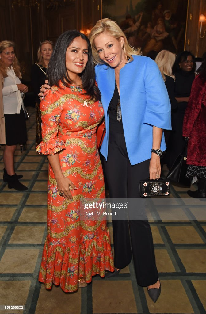 Salma Hayek (L) and Nadja Swarovski attend the Academy of Motion Picture Arts and Sciences Women In Film lunch at Claridge's Hotel on October 6, 2017 in London, England.
