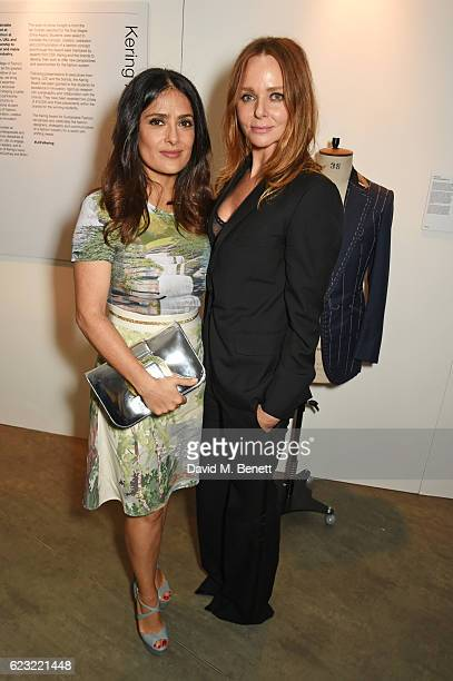 Salma Hayek and Stella McCartney attend the 2016 Kering Talk at the London College of Fashion on November 14 2016 in London England