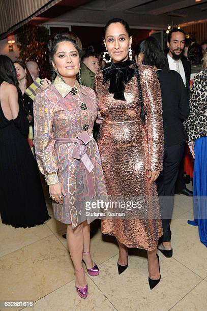 Salma Hayek and Tracee Ellis Ross attend Harper's BAZAAR celebration of the 150 Most Fashionable Women presented by TUMI in partnership with American...