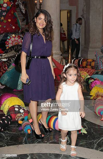 Salma Hayek and Valentina Paloma Pinault attend the 'Il Mondo Vi Appartiene' Exhibition Opening during the 54th International Art Biennale at Palazzo...