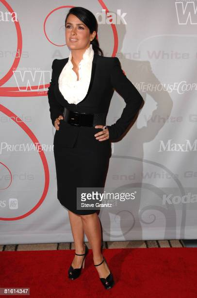 Salma Hayek arrives at The 2008 Crystal Lucy Awards 'A Black And White Gala' on June 17 2008 at the Beverly Hilton Hotel in Beverly Hills California