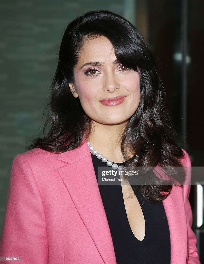Salma Hayek arrives at the 2013 Film Independent Filmmaker Grant and Spirit Award nominees brunch held at BOA Steakhouse on January 12, 2013 in West Hollywood, California.