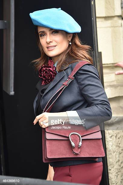 Salma Hayek arrives at the Gucci show during the Milan Fashion Week Autumn/Winter 2015 on February 25 2015 in Milan Italy