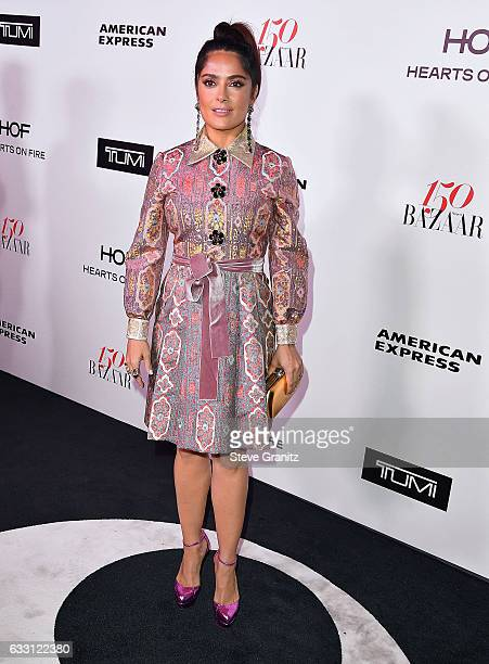 Salma Hayek arrives at the Harper's Bazaar Celebrates 150 Most Fashionable Women at Sunset Tower Hotel on January 27 2017 in West Hollywood California