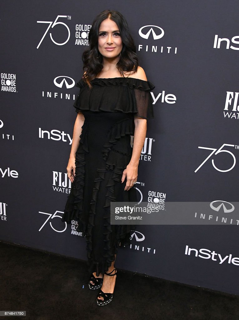 Salma Hayek arrives at the Hollywood Foreign Press Association And InStyle Celebrate The 75th Anniversary Of The Golden Globe Awards at Catch LA on November 15, 2017 in West Hollywood, California.