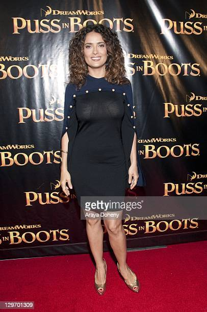 Salma Hayek arrives at the red carpet premiere of 'Puss in Boots' at Westfield Center on October 19 2011 in San Francisco California