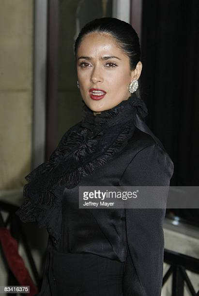 Salma Hayek arrives at the Sir Richard Branson Charity Event Rock the Kasbah Benefiting Virgin Unite at The Roosevelt Hotel on October 23 2008 in...