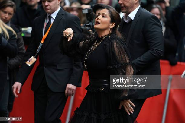 """Salma Hayek arrives at the """"The Roads Not Taken"""" photo call during the 70th Berlinale International Film Festival Berlin at Grand Hyatt Hotel on..."""