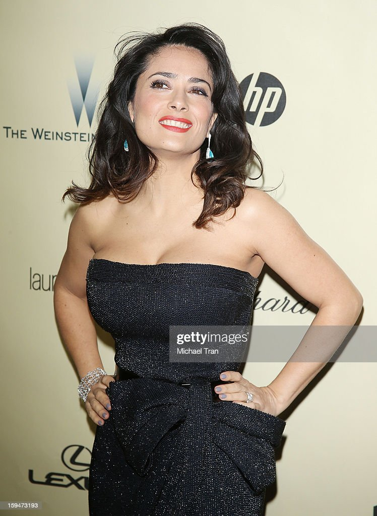 Salma Hayek arrives at The Weinstein Company's 2013 Golden Globes after party held at The Beverly Hilton Hotel on January 13, 2013 in Beverly Hills, California.