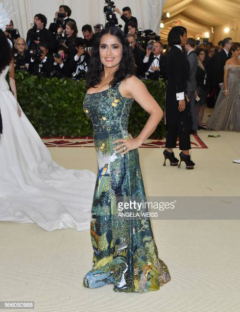 Salma Hayek arrives for the 2018 Met Gala on May 7 at the Metropolitan Museum of Art in New York The Gala raises money for the Metropolitan Museum of...