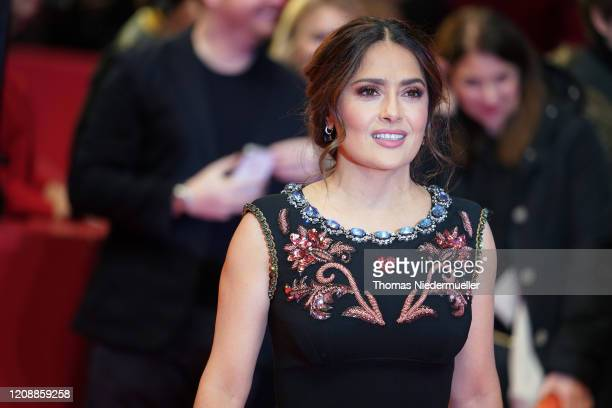 Salma Hayek arrives for the The Roads Not Taken premiere during the 70th Berlinale International Film Festival Berlin at Berlinale Palace on February...